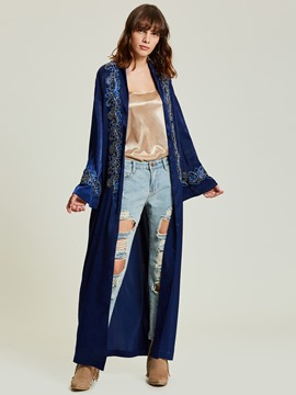 Ericdress Plain Floral Velvet Long Jacket