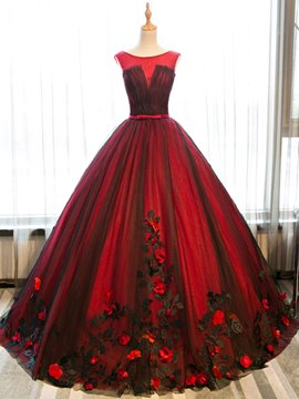 Ericdress Scoop Appliques Sashes Ball Quinceanera Dress