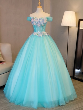 Ericdress Flowers Off-the-Shoulder Embroidery Pearls Quinceanera Dress