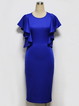 Ericdress Ruffle Sleeve Mid-Calf Plain Sheath Dress