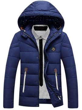 Ericdress Hooded Patchwork Thicken Warm Men's Winter Jacket