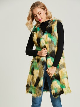 Color Block Mid-Length Faux Fur Women's Vest