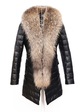 Ericdress Slim Fur Mid-Length PU Jacket