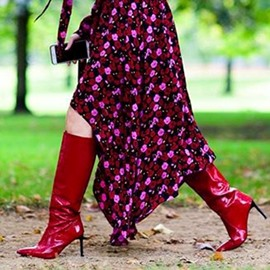 Ericdress Red Slip-On Stiletto Heel Knee High Boots