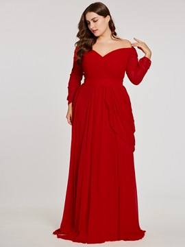 Ericdress Plus Size Off-the-Shoulder Long Sleeves Evening Dress