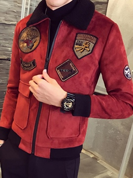 Ericdress Lapel Patchwork Slim Men's Winter Jacket
