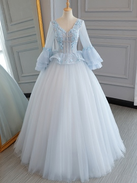Ericdress V-Neck Flowers Lace Pearls Quinceanera Dress