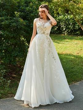 Ericdress Cap Sleeves Appliques Lace Wedding Dress