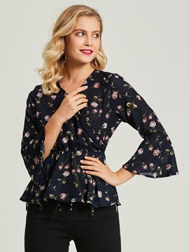 Ericdress V-Neck Floral Print Flare Sleeve Women's Blouse