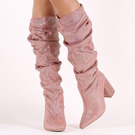 Ericdress Glitterring Pointed Toe Women's Knee High Boots