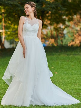 Ericdress Appliques Ball Gown Tulle Wedding Dress