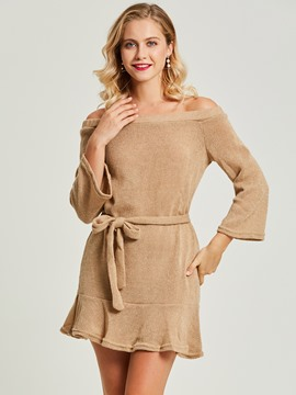Ericdress Knitted Flare Sleeve Lace-Up Sweater Dress