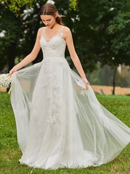 Ericdress Beaded V Neck Appliques Garden Wedding Dress