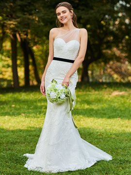 Ericdress One Shoulder Mermaid Lace Wedding Dress