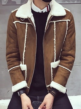 Ericdress Lapel Patchwork Men's Winter Coat