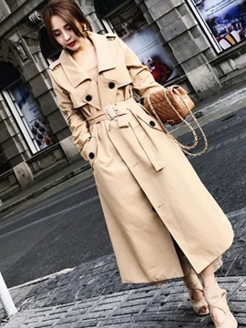 Ericdress Lace-Up Long Plain Trench Coat