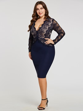Ericdress V Neck Long Sleeves Sheath Cocktail Dress