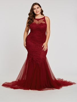 Ericdress Plus Size Spaghetti Straps Mermaid Evening Dress