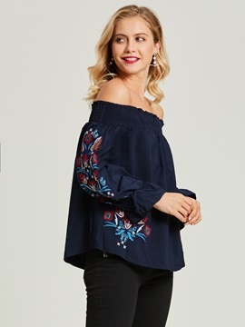 Ericdress Slash Neck Floral Embroideried Backless Women's Blouse