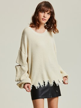 Ericdress Loose Round Neck Pullover Women's Sweater