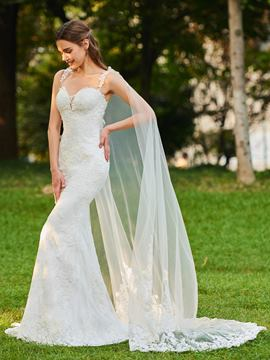 Ericdress Straps Mermaid Lace Watteau Train Wedding Dress