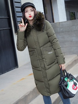 Ericdress Thick Plain Zipper Long Hooded Coat