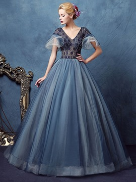 Ericdress Beading Short Sleeves V-Neck Lace Quinceanera Dress