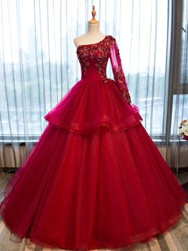 Ericdress One-Shoulder Appliques Beading Flowers Quinceanera Dress