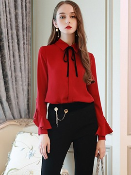 Ericdress Lapel Plain Single-Breasted Ruffles Shirt