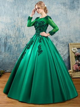 Ericdress Scoop Appliques Beaded Long Sleeves Quinceanera Dress