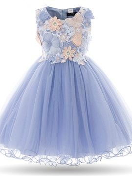 Ericdress Ball Gown Appliques Tulle Flower Girl Party Dress