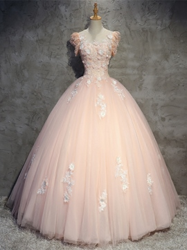 Ericdress Appliques Beaded Flowers Ball Quinceanera Dress