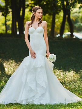 Ericdress Sweetheart Ruffles Mermaid Lace Wedding Dress