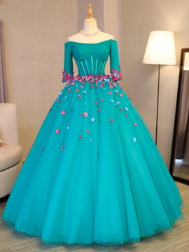 ericdress Blumen off-the-shoulder langen Ärmeln Quinceanera Kleid