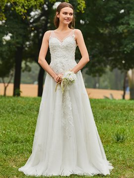 Ericdress V Neck Beaded A Line Tulle Wedding Dress