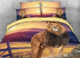 Vivilinen 3D Lion Looking out Safari Style 4-Piece Bedding Sets/Duvet Covers