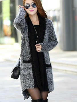 Ericdress Loose Pocket Mid-Length Cardigan Knitwear
