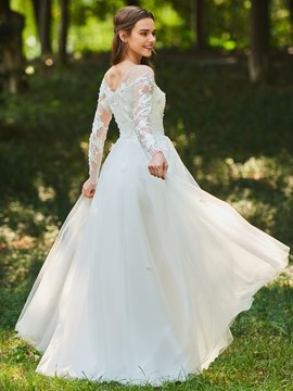 Ericdress Sheer Neck Appliques Long Sleeves Wedding Dress
