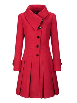 Ericdress Plain Lapel Slim Single-Breasted Coat