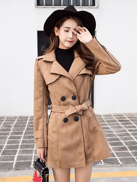 Ericdress Double-Breasted Plain Mid-Length Trench Coat