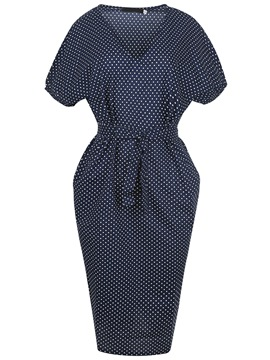 Ericdress Polka Dots Batwing Sleeve Lace-Up Pocket Bodycon Dress