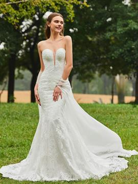 Ericdress Sweetheart Mermaid Lace Wedding Dress with Shawl