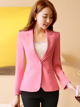 Ericdress Notched Lapel One Button Plain Blazer