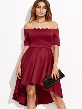 Ericdress Slash Neck High-Low Asymmetrical A Line Dress