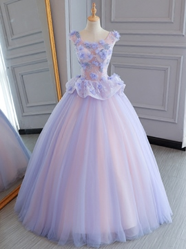 Ericdress Pearls Beading Flowers Lace Cap Sleeves Quinceanera Dress