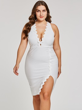Ericdress Plus SizeV Neck Sheath Cocktail Dress