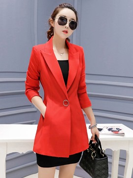Ericdress Slim One Button Plain Mid-Length Blazer