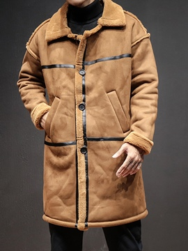 Ericdress Lapel Patchwork Straight Mid-Length Men's Trench Coat