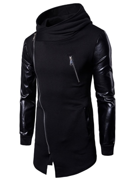 Ericdress High Neck Patchwork Oblique Zipper Men's Hoodie