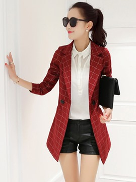 Ericdress Plaid Mid-Length Double-Breasted Blazer
